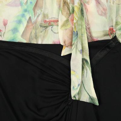 silky cuffs floral blouse & silk shirring draped skirt